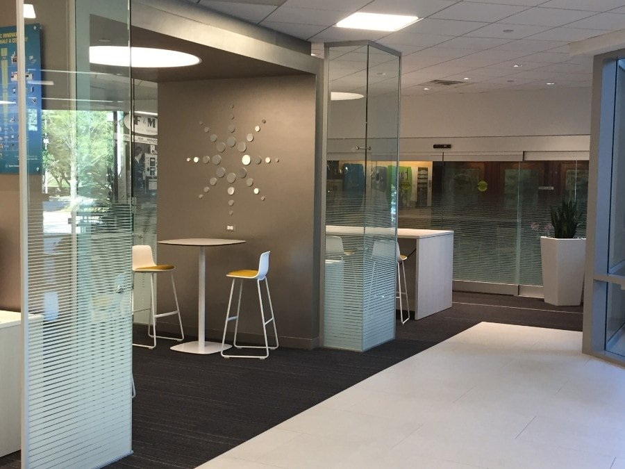 3M fasara decorative window film in an office