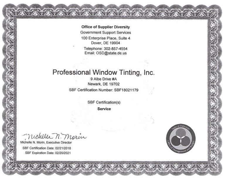 professional window tinting office of supplier certificate