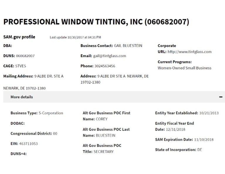 professional window tinting women owned sam business certificate