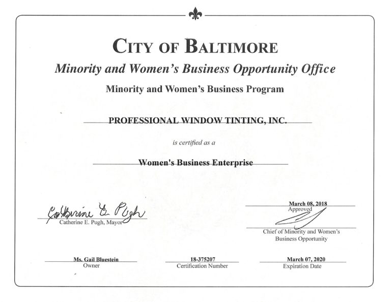 professional window tinting minority and women's business office certification