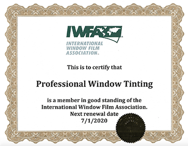 professional window tinting iwfa certification