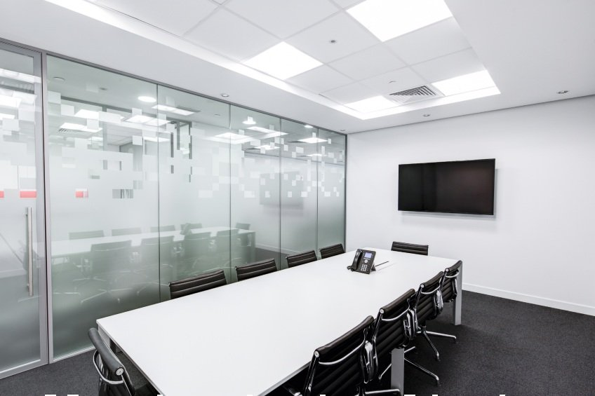 conference room with glass wall